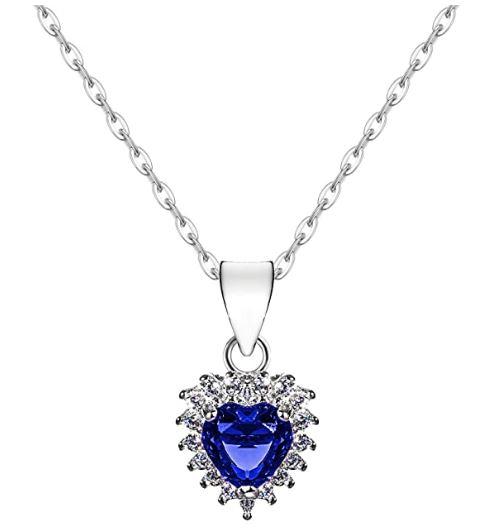 Coupon 50% collana cuore zircone blu