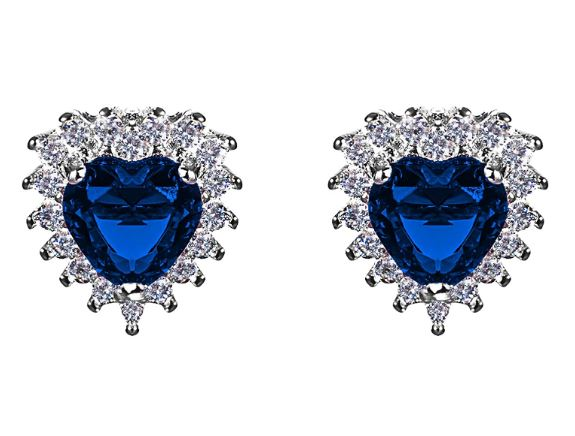 Coupon 50% orecchini cuore zircone blu